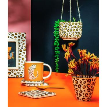Leopard hanging planter